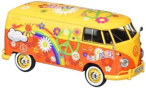 Motor max 1:24 volkswagen delivery van hippie flower power