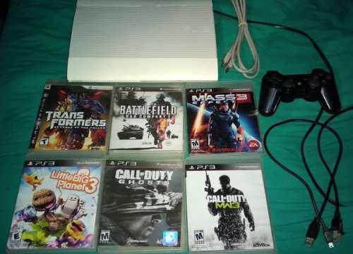 Playstation 3 super slim blanco 250gb con control 6 juegos