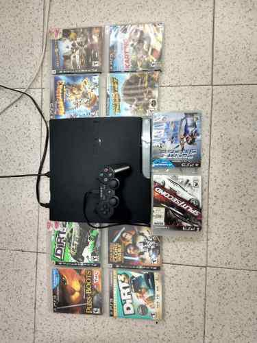 Ps3 playstation 3 slim 160gb, 10 juegos