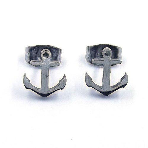72d6ada6da84 Aretes acero inoxidable plateado tipo broquel ancla