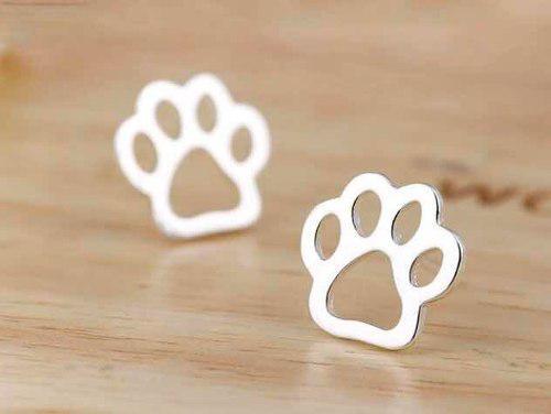 74fe461ad24f Aretes acero quirurgico pata huella gato perro