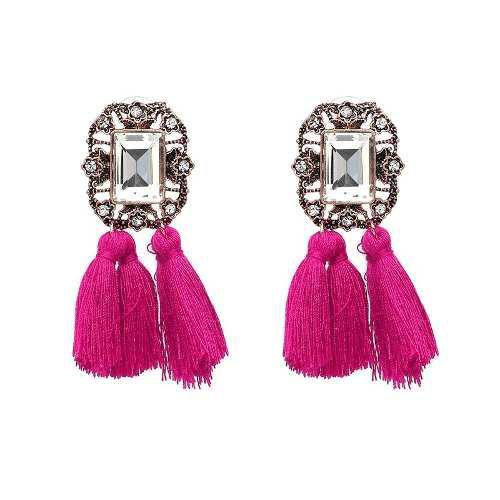7d6416dabec1 Aretes flecos con piedra borla elegantes de moda vintage