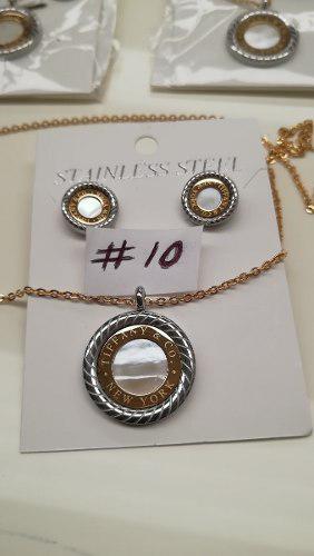 Aretes y collar en acero tiffany modelos #10 al #14