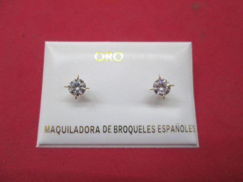 23817ac80783 Broqueles oro solido 10 kilates con zirconias mod. 2