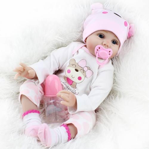55 Cm Bebé Reborn Muñeca De Silicona Cuerpo Blanda