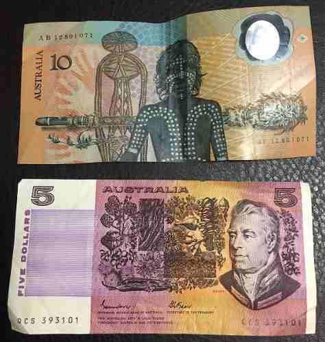 Lote de 2 billetes antiguos de australia de 10 y 5 dólares