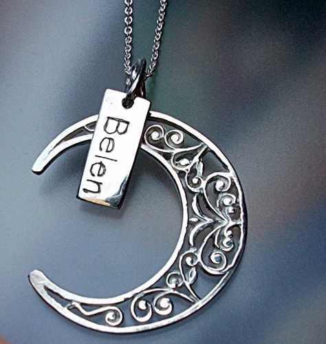 7eedd77176e0 Cadena + dije luna + placa perzonalizada plata ley 925