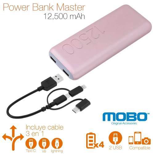 Power bank cargador portatil mobo 4 carga rapida 12500mah