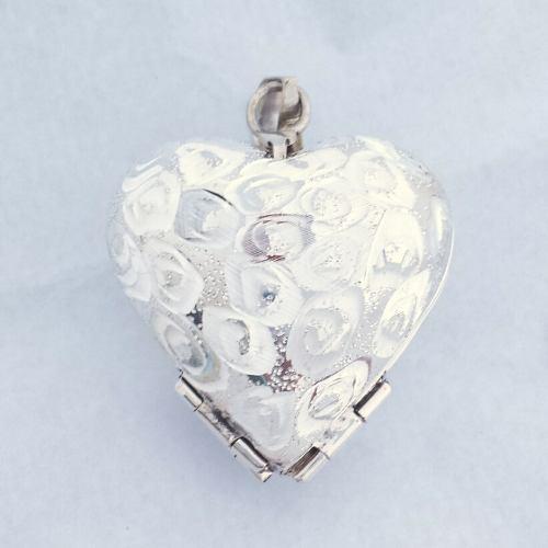 Relicario corazón grande 4 fotos diamantado espiral plata db6eee2f6ef