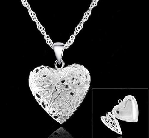 Relicario guardapelo corazon baño de plata 936b286794e