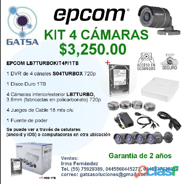 Epcom kit 4 cámaras todo incluido