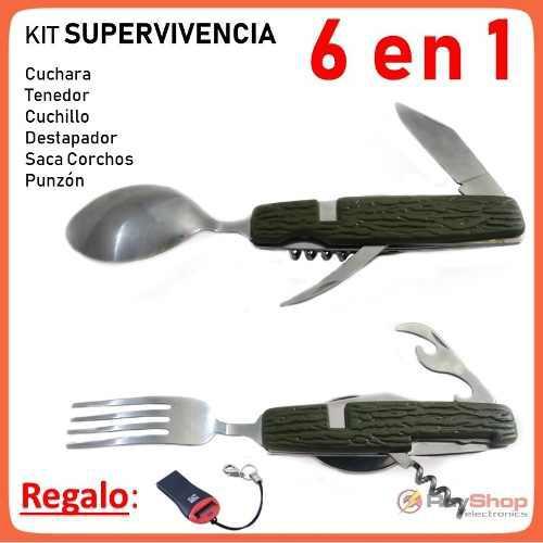 Cubiertos plegables 6 en 1 cuchara tenedor camping a106p