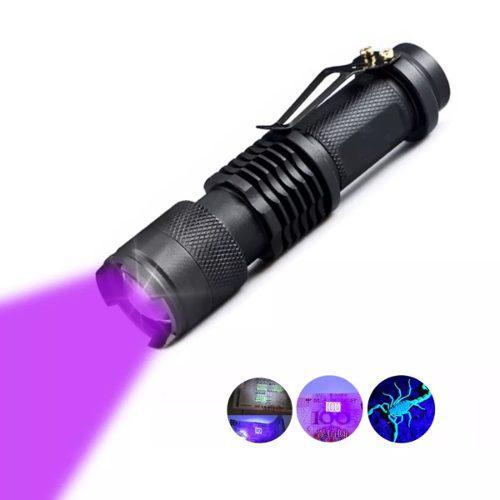Lampara táctica luz negra uv led q5 bateria recargable zoom