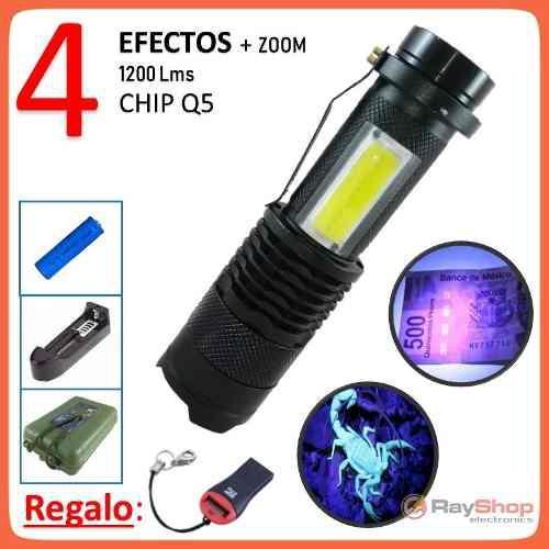 Mini lámpara táctica 1200lm luz led uv + luz cob blanca