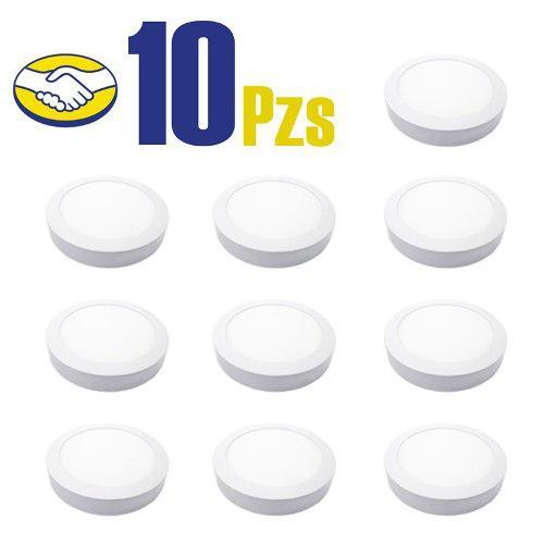 Panel led redondo sobreponer 12w frio pack 10 mayoreo