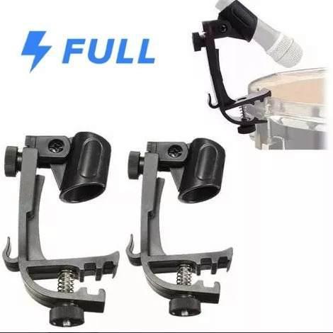 2 bases de microfono p/ bateria tambor clip stand envio full