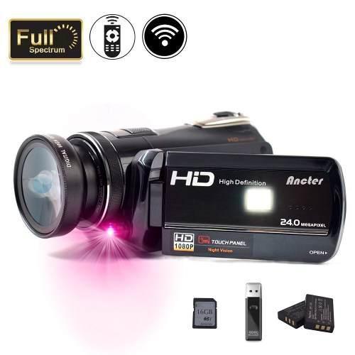 Videocámara ancter wifi/hd/18x zoom/vision nocturna/16gb sd