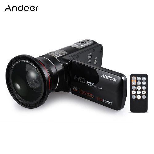 Videocámara digital andoer 1080p full hd 24 mp negro