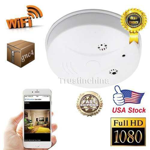 Wifi hd 1080p videocámara nanny cam detector de humo