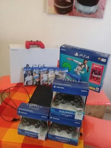 Consola ps4 bundlee fifa 19 + 3 controles + 5 juegos