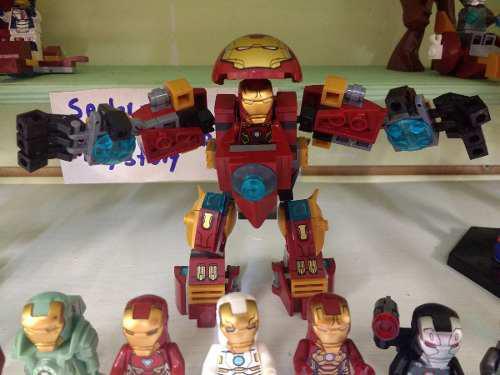 Hulkbuster y 8 figuras de ironman lego compatibles.