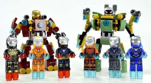 Ironman lego compatibles 8 figuras armaduras + 2 robots.