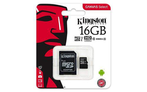 Kingston micro sd hc 16gb uhs-i cl10 memoria celulares 80mb