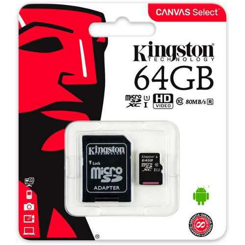 Memoria micro sd 64gb clase 10 kingston 80r original mayoreo