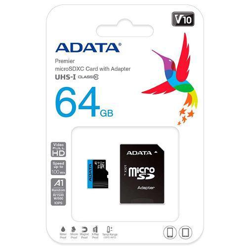 Memoria Micro Sdxc 64gb Adata Clase 10 Ausdx64guicl10a1-ra1