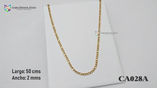 Cadena tejido-cartier 50cms 2mm acero inoxidable dorado