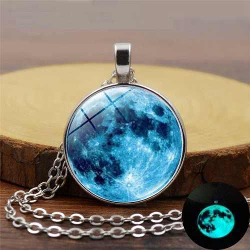 Collar luna llena azul marino brilla oscuridad moda mujer