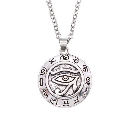 ccdf9447657b Collar plateado metalico egipcio de ojo de horus!