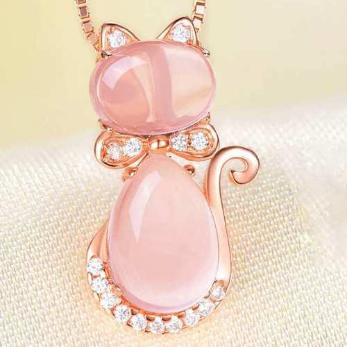 15d183f6a22f Dije en forma de gato. cuarzo rosa. con cadena. envio gratis