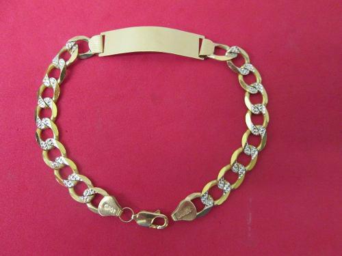 7bba9b2d3f51 Esclava caballero oro sólido 10 kilates diamantada 23 cm.