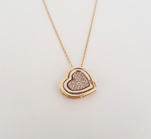 b78d65154962 Hermosa cadena gargantilla corazon multiforma oro sólido