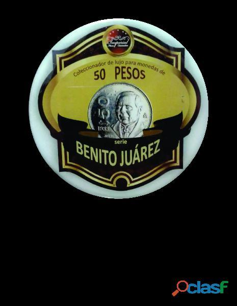 Album coleccionador de lujo, monedas de 50 pesos juarez de méxico