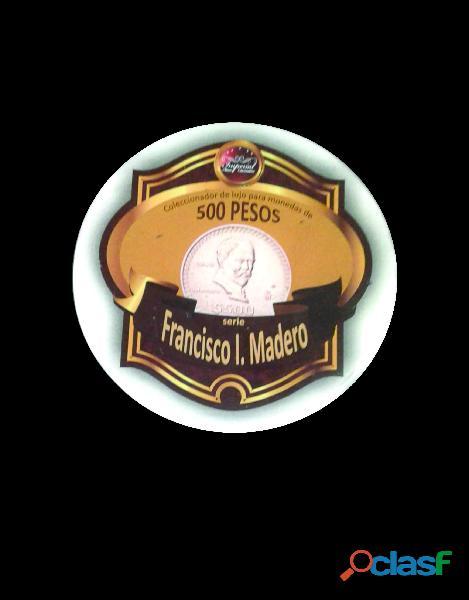 Album coleccionador de lujo, monedas de 500 pesos de serie madero
