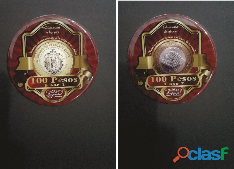 Album coleccionador de lujo para monedas de 100 pesos