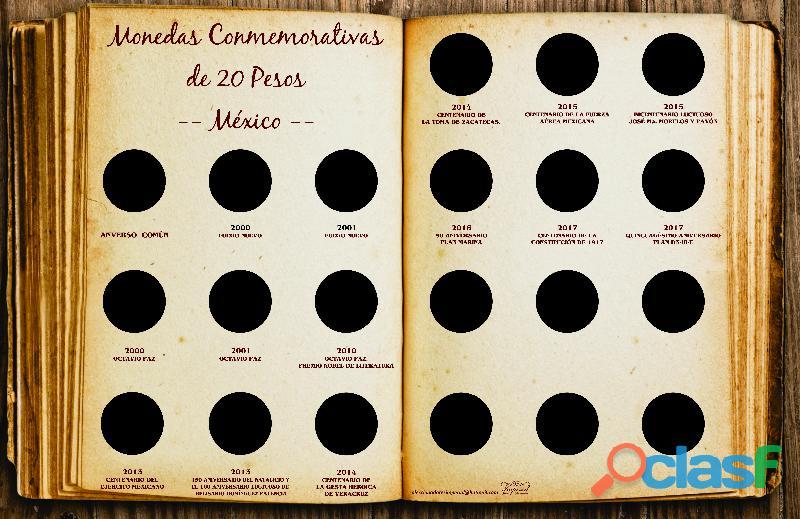 Album coleccionador de lujo para 20 pesos conmemorativas bimetalicas