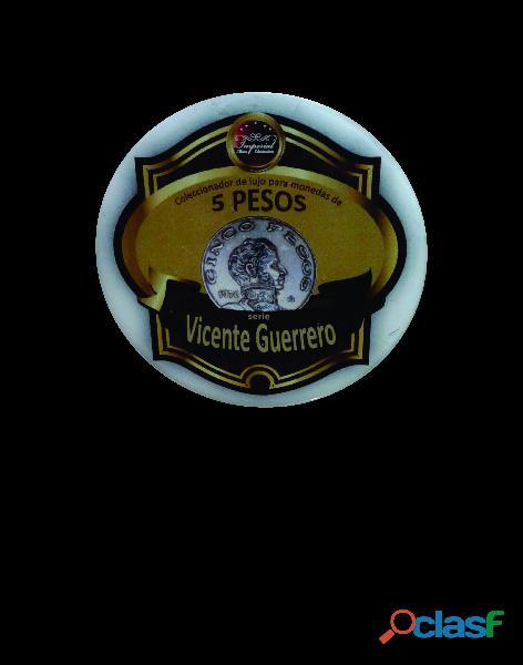 Album coleccionador de lujo para monedas de 5 pesos serie vicente guerrero