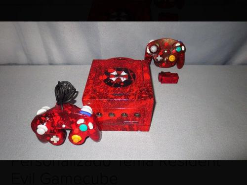 Consola gamecube personalizada resident evil con 2 controles