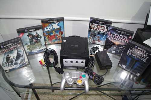 Nintendo gamecube negro + control + 6 juegos + envío + msi