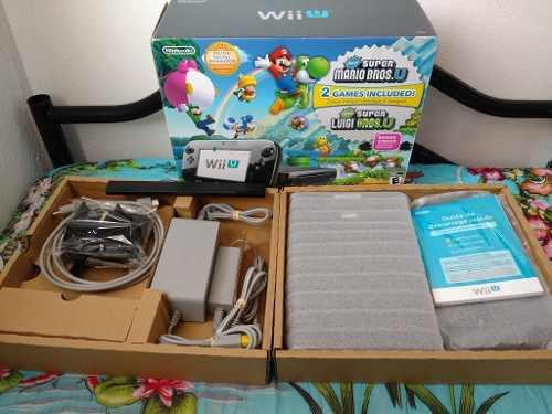 Nintendo wii u deluxe set con caja y 15 juegos integrados