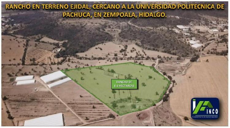 Rancho de 8.6 hectáreas cerca de la upp, mineral de la