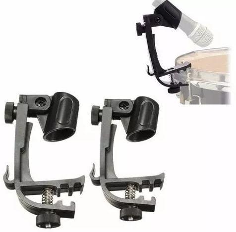 4 bases de microfono p/ bateria tambor clip stand full