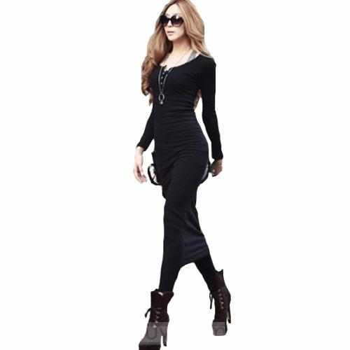 Elegante vestido casual largo fiestas blusa falda 5105