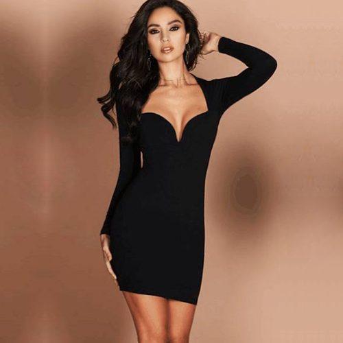 Mini vestido de fiesta noche bodycon cuello v profundo