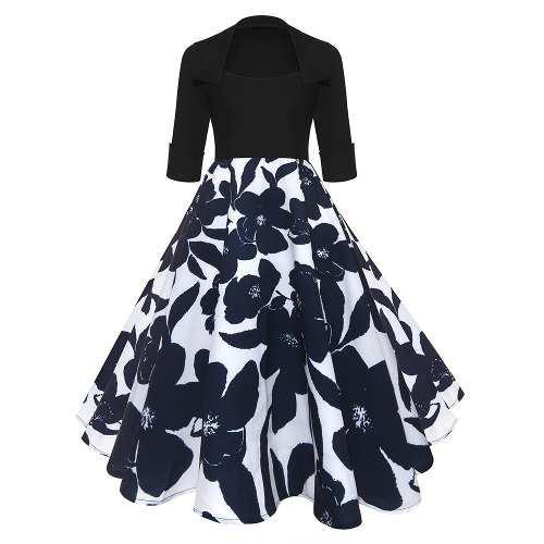 Mujeres vendimia vestido de flores patchwork elegantes vesti