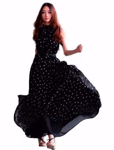 Tsuki moda japonesa: vestido maxi fiesta polka dots cinturon