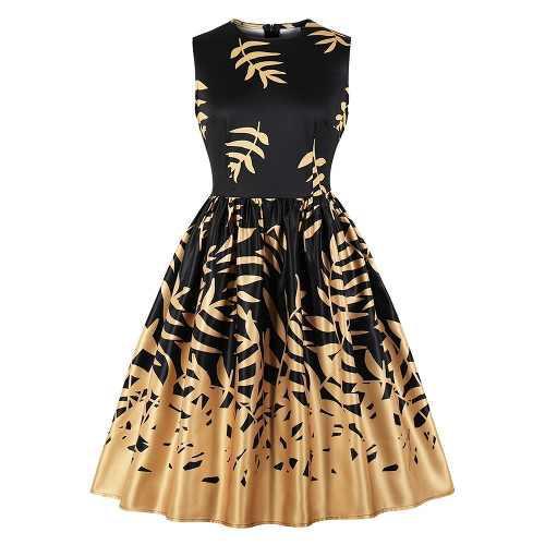 Vendimia hojas impresión fit y llamarada vestido